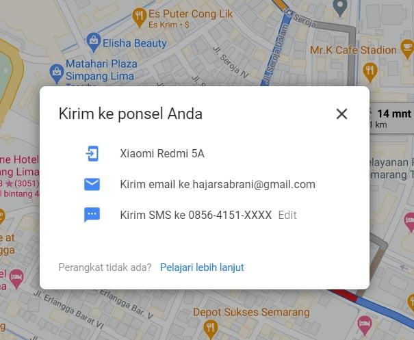 jenis kirim rute google maps ke hp