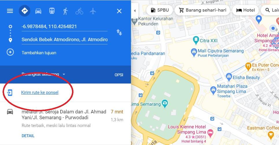 kirim rute google maps ke hp