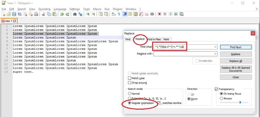 cara hapus baris duplikat di notepad++